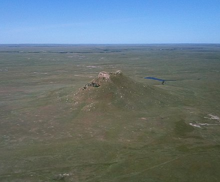 Much of western South Dakota is covered by grasslands and features buttes such as Thunder Butte, shown above. Thunder butte SD.jpg