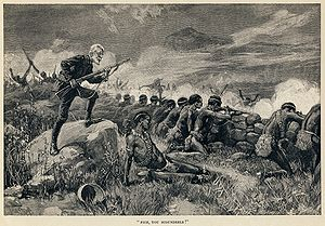 4 bore - Allan Quatermain, having waited until the last minute while holding his elephant gun, orders his men to fire in this illustration by Thure de Thulstrup from Maiwa's Revenge (1888).