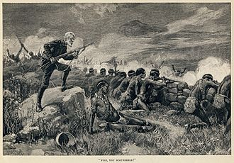 Allan Quatermain - Allan Quatermain, having waited until the last minute, orders his men to fire in this illustration by Thure de Thulstrup from Maiwa's Revenge (1888)