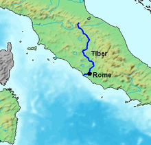 Map showing the course of the Tiber river