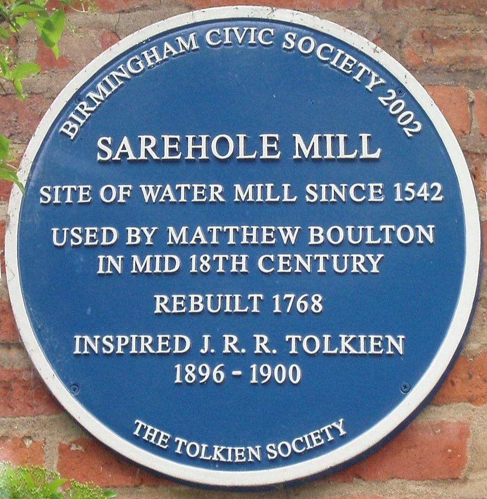 Tolkien's Sarehole Mill blue plaque-persp