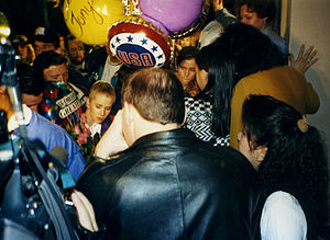 Media circus - Tonya Harding arriving at Portland International Airport after the 1994 Winter Olympics.