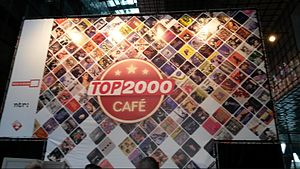 The outside of the Top 2000 purpose-built studio and cafe, displaying the show's logo