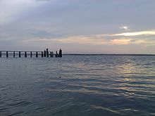 Image of Topsail Island sound side dock at sunset
