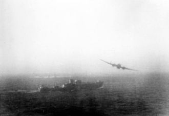 Operation Orator - A Hampden TB.1 of the Leuchars Wing makes a torpedo attack on a German vessel during the  Second World War.  (A photograph taken by a member of 18 Group on an unrelated operation.)