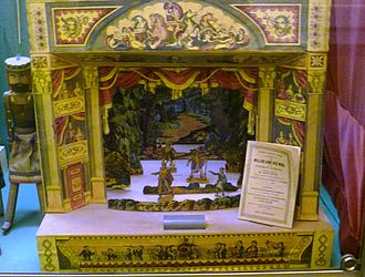 """Toy theater - Toy Theater (c.1845-50) by John Redington of London, showing a scene from Isaac Pocock's two-act play """"The Miller And His Men"""". An exhibit in the Edinburgh Museum of Childhood"""