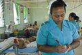 Trainee nurse Tekanrati Tito at South Tarawa Hospital, Kiribati 2007. Photo- Lorrie Graham (10730691373).jpg