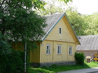 Trakai - A typical triple-windowed wooden Karaim house in Trakai