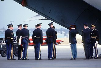 Arthur D. Nicholson - Major Nicholson's casket being placed on a U.S. aircraft at Rhein-Main Air Base in Germany