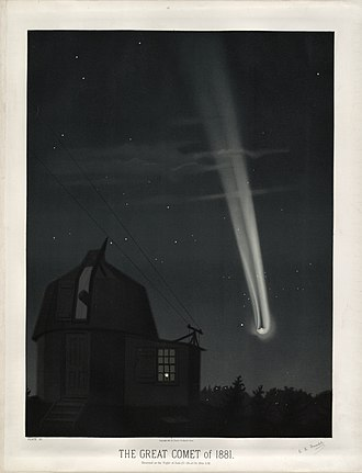 John Tebbutt - The great comet of 1881, chromolithograph by Trouvelot