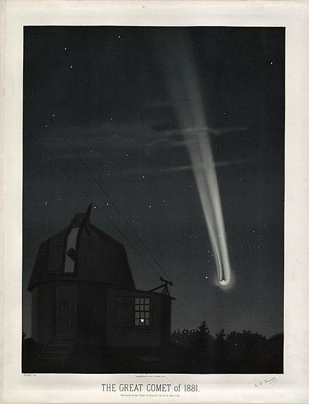 Asteroiden / Meteoriten / Kometen 440px-Trouvelot_-_The_great_comet_of_1881_-_1881