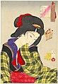 Tsukioka (Taiso) Yoshitoshi (1839-1892), Verlegen - het uiterlijk van een maagd uit de Meiji periode (1888).jpg