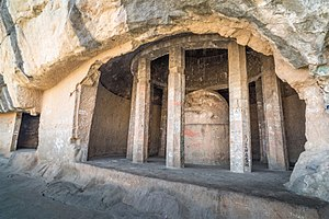 Tulja Caves - Remains of the circular Chaitya.