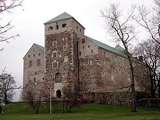Finland under Swedish rule - The older part of the Turku Castle viewed from the harbour