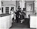 Two unidentified women; Mark Bortman, Chairman of the Civic Committee of the People-to-People Program; Mary Collins; and Llora Bortman inside the Old South Meeting House (10426106273).jpg