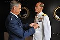 U.S. Air Force Lt. Gen. Salvatore A. Angelella, left, commander of U.S. Forces Japan, presents the Distinguished Service Medal to U.S. Navy Rear Adm. Dan Cloyd during a change of command ceremony in Yokosuka 130823-N-DS193-008.jpg