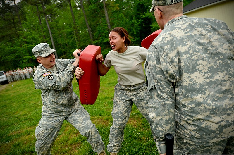File:U.S. Army Pvt. Deidra Reinatdixon, center, with Headquarters and Headquarters Company, 105th Military Police Battalion, North Carolina Army National Guard, makes her way through a defense course during oleoresin 130501-Z-AY498-016.jpg
