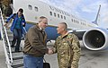 U.S. Deputy Defense Secretary Bob Work shakes hands with Army Gen. John F. Campbell, commander of the International Security Assistance Force, upon the deputy secretary's arrival in Kabul, Afghanistan, 141127-D-NI589-031.jpg