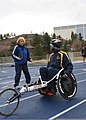 U.S. Navy Hospital Corpsman 3rd Class Antonio Anderson, right, a Navy-Coast Guard team member, speaks with his coach during training for the 2013 Warrior Games in Colorado Springs, Colo., May 9, 2013 130509-N-DT940-164.jpg
