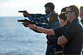 U.S. Sailors fire M9 pistols during a small arms shoot aboard the guided missile cruiser USS Antietam (CG 54) Nov. 30, 2013, in the Philippine Sea 131130-N-TG831-080.jpg