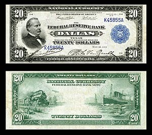 Federal Reserve Bank of Dallas - $20 1915 Dallas District FRBN.