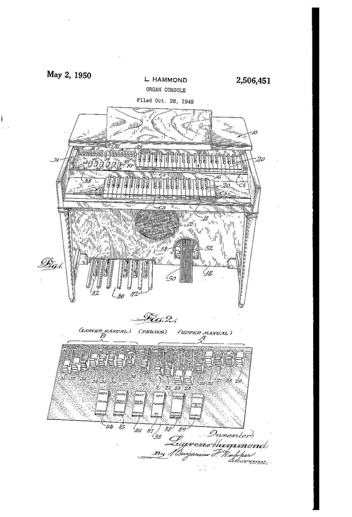 File:US2506451A Organ Console (1949-10-28 filed, 1950-05-02 ...