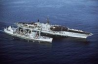 USNS Hassayampa (T-AO-145) refueling USS Midway (CV-41) 1984.JPEG
