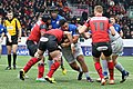 USO - Saracens - 20151213 - Maro Itoje and Mako Vunipola facing Olivier Missoup, Leon Power and Rory Clegg.jpg
