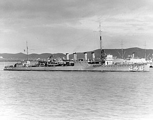 USS Barry (DD-248) in Guantanamo Bay, Cuba, during the late 1920s or early 1930s (NH 64560)