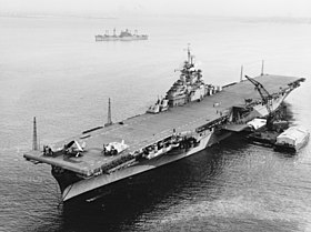USS Bon Homme Richard (CV-31) anchored in New York harbor on 9 January 1945.jpg