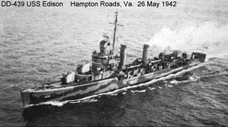 Convoy ON 67 - Task Unit 4.1.5 commander's ship USS Edison.