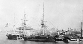 The USS Enterprise circa 1890 at the New York Navy Yard