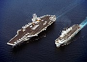 USS John C. Stennis (CVN-74) and HMS Illustrious (R 06) in the Persian Gulf on April 9, 1998