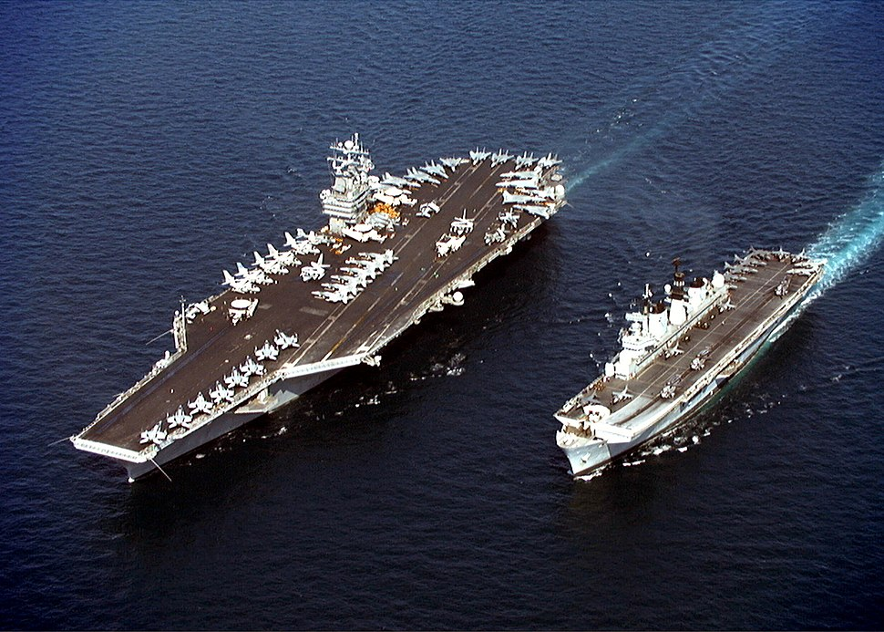 USS John C. Stennis (CVN-74) and HMS Illustrious (R 06) in the Persian Gulf on April 9, 1998