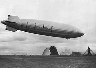 USS Macon (ZRS-5) - Macon over Moffett Field
