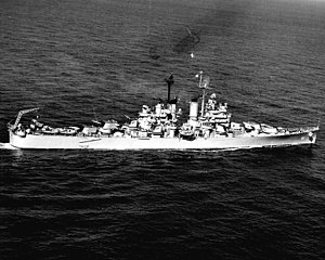 USS Manchester (CL-83) - Manchester in the Mediterranean Sea, 9 March 1948.