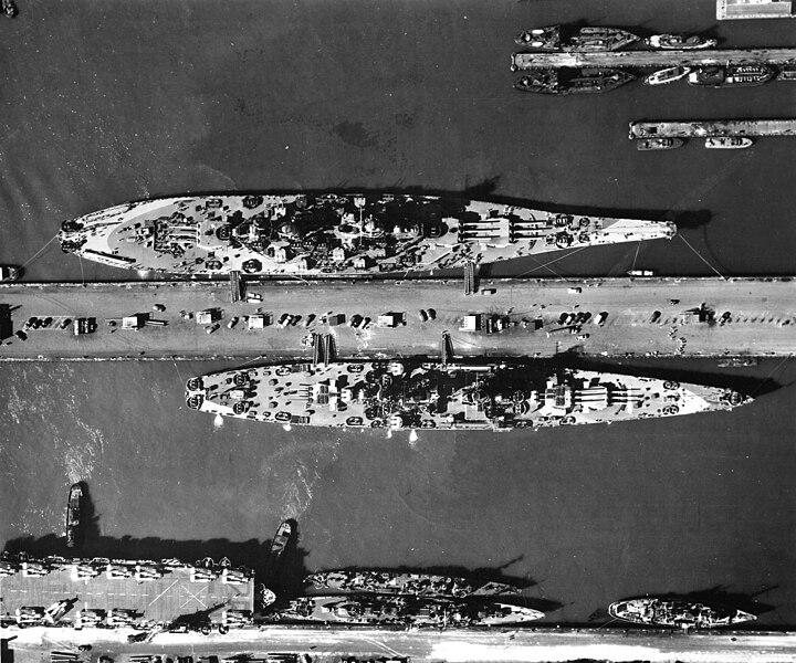 File:USS Missouri (BB-63) and USS Alaska (CB-1) at Norfolk, Virginia, 1944.jpg