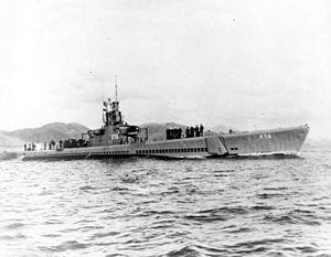 Sawfish (SS-276), probably off Hunter's Point Shipyard near San Francisco CA., following an overhaul in late 1943-early 1944.
