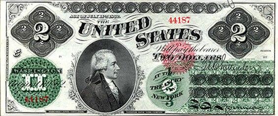 US $2 1862 Legal Tender