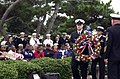US Navy 051012-N-8720O-026 Sailors assigned to the guided missile destroyer USS Cole (DDG 67) bear a ceremonial wreath as they circle the USS Cole Memorial on Naval Station Norfolk.jpg