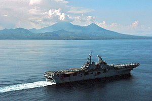 San Bernardino Strait - USS Essex passes Mount Bulusan as it transits through the San Bernardino Strait.
