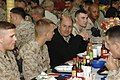 US Navy 061123-N-3642E-008 Secretary of the Navy (SECNAV) The Honorable Dr. Donald C. Winter eats Thanksgiving lunch with Marines and Sailors stationed at Camp Fallujah.jpg
