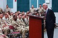 US Navy 070122-N-9594C-004 Deputy Secretary of Defense Gordon England conducts a town hall meeting with service members on board Naval Support Activity Bahrain.jpg