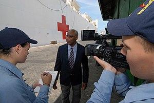 Mass communication specialist - A pair of mass communication specialists interviewing the American ambassador to Trinidad and Tobago, Roy Austin, September 2007
