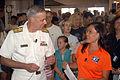 US Navy 080721-N-7975R-004 Rear Adm. Joseph F. Campbell, U.S. Fleet Forces Command, speaks with WMDT 47 ABC News anchor Stacy Sakai.jpg