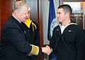 US Navy 081107-N-8848T-109 Chief of Naval Operations Adm. Gary Roughead congratulates honor graduate Seaman Recruit Carl Walter, from LaGrange, Ohio, at Recruit Training Command.jpg