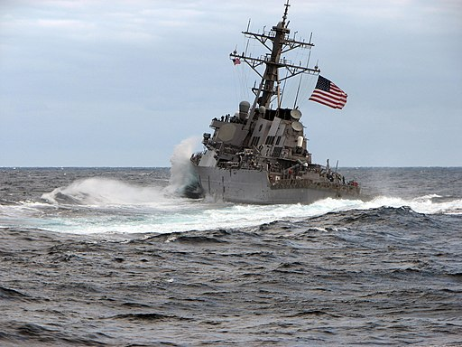 US Navy 100116-N-7408S-012 Waves crash over the bow of the guided-missile destroyer USS Carney (DDG 64)