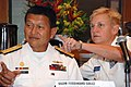 US Navy 100407-N-7095C-049 Rear Adm. Nora Tyson, right, commander of Logistics Group Western Pacific-Task Force 73, and Vice Adm. Ferdinand Golez, Flag Officer in Command of the Philippine Navy start the Southeast Asian Maritim.jpg