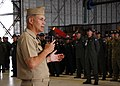 US Navy 100702-N-6855K-012 Vice Adm. Richard W. Hunt speaks to U.S., Japanese, Australian, Republic of Korea and Canadian Sailors of the maritime patrol and reconnaissance community during an all-hands call about Rim of the Pac.jpg