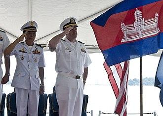 Royal Cambodian Navy - Cambodian Navy saluting the flag.